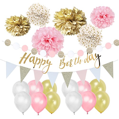 Easy Joy Gold Rosa Weiß Geburtstag Deko-Set Pastellfarbe Dekor Happy Birthday Girlande Pompoms Luftballons