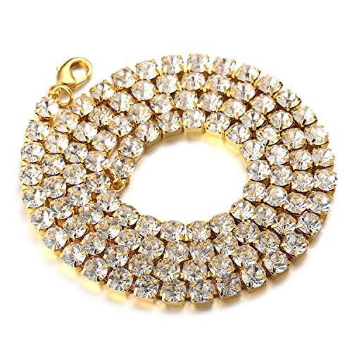 Goldkette Herren Iced Out,3MM Herren Baby-Tennis-Kette Halsband Halskette 30In(75cm) in 18kt Echt Vergoldet,Volle Cz Diamant Schnitt Zinken-Set,Geschenk für Ihn