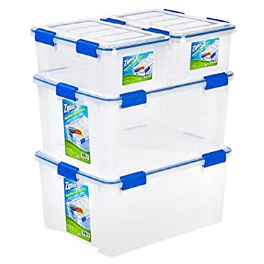 Ziploc WeatherShield 16 and 60 Quart Storage Box, 4 Pack, Clear
