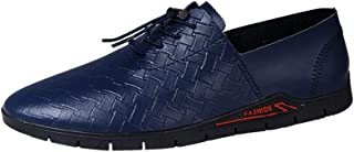 QinMei Zhou Business Oxford for Men Slip on Loafer Weave Genuine Leather Casual Driving Work Boat Shoes (Color : Blue, Size : 7 UK)