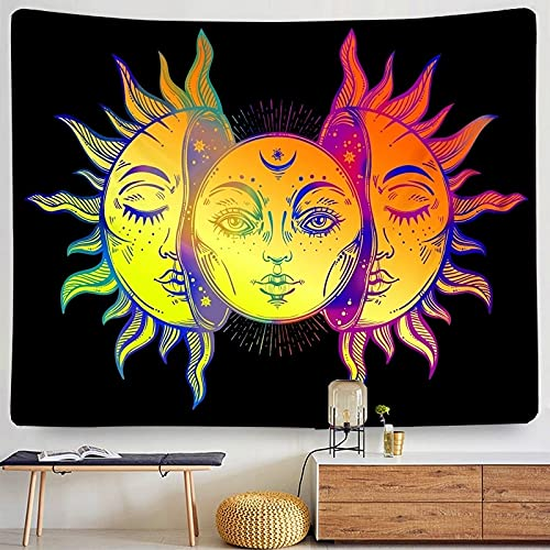 KHKJ Sol Luna Mandala Tapiz Colgante de Pared Celestial Tapiz de Pared Hippie Alfombras de Pared Decoración de Dormitorio Tapiz psicodélico A8 230x180cm