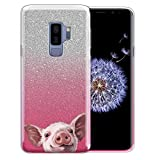 FINCIBO Case Compatible with Samsung Galaxy S9 Plus 6.2 inch, Shiny Sparkling Silver Pink Gradient 2 Tone Bling Glitter TPU Protector Cover Case for Galaxy S9 Plus - Baby Pig