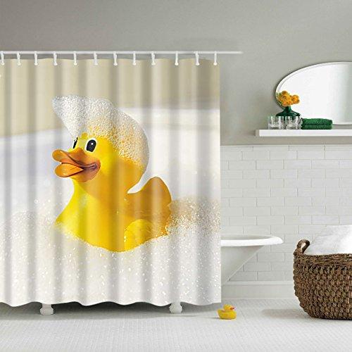 Zhizhen 5Größe Polyester Digitaldruck Tier Serie Duschvorhang Badvorhang Anti-Schimmel Wasserdicht ohne Haken für Heim und Hotel Decor (120 * 180cm, 7 Gelbe Ente)