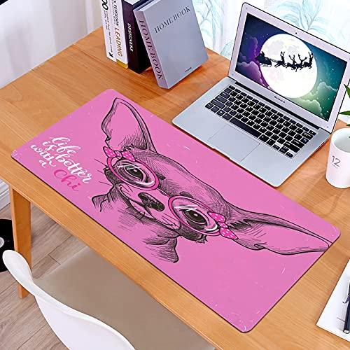Alfombrilla Ratón Grande Gaming Mouse Fille Chihuahua Sketch Ilustración Avec Citation Rubans Lunettes de Mode PuppyBase de Goma, Portátil, Ordenador
