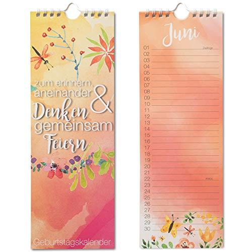 Geburtstagskalender mit Spiralbindung I Format 105 x 297 mm I jahresunabhängig I Dauerkalender für die ganze Familie I dv_191