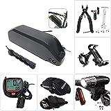 SYN-GUGAI Fahrradbatterieladegerät, Elektrofahrräder für 250W ~ 1000WMotorladegerät, Fahrradbatterie USB-Ladescheinwerfer und Rücklichtset, Ausbauwerkzeug, Satteltasche, Stoppuhr,48V14Ah