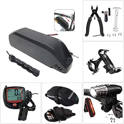 Cargador de batería de bicicleta,bicicletas eléctricas para 250W ~ 1000W Cargador de motor,faro de carga USB y juego de luces traseras,herramienta de extracción, bolsa de sillín, cronómetro,36V13Ah