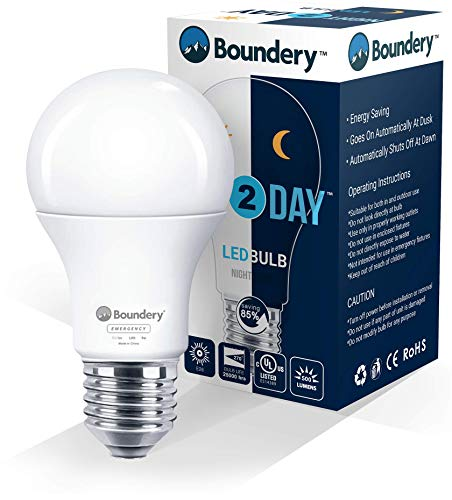 Night2Day Dusk to Dawn LED Light Bulb by Boundery - E26 Solar Sensor LED Bulb for Dusk to Dawn Outdoor Lighting - 8W=100W, 120VAC - Porch & Patio Lights for Outdoor and Indoor Use - (1 Bulb)