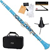 Mendini MCT-SB+SD+PB Sky Blue ABS B Flat Clarinet with Case, Stand, Pocketbook, Mouthpiece, 10 Reeds and More