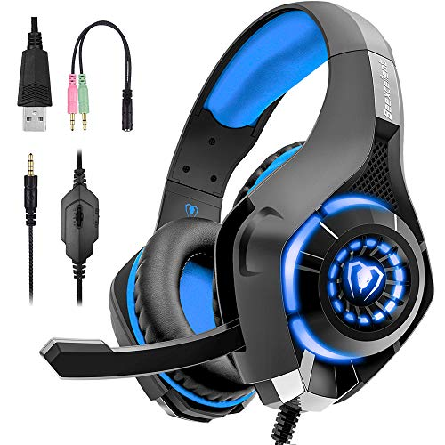 Beexcellent Gaming Headset for PS4, Xbox One Controller, PC, Over Ear Headphones with Noise Cancelling Mic, Soft Memory Earmuffs, LED Light, Stereo Bass Surround Sound for Nintendo Switch Laptop Mac