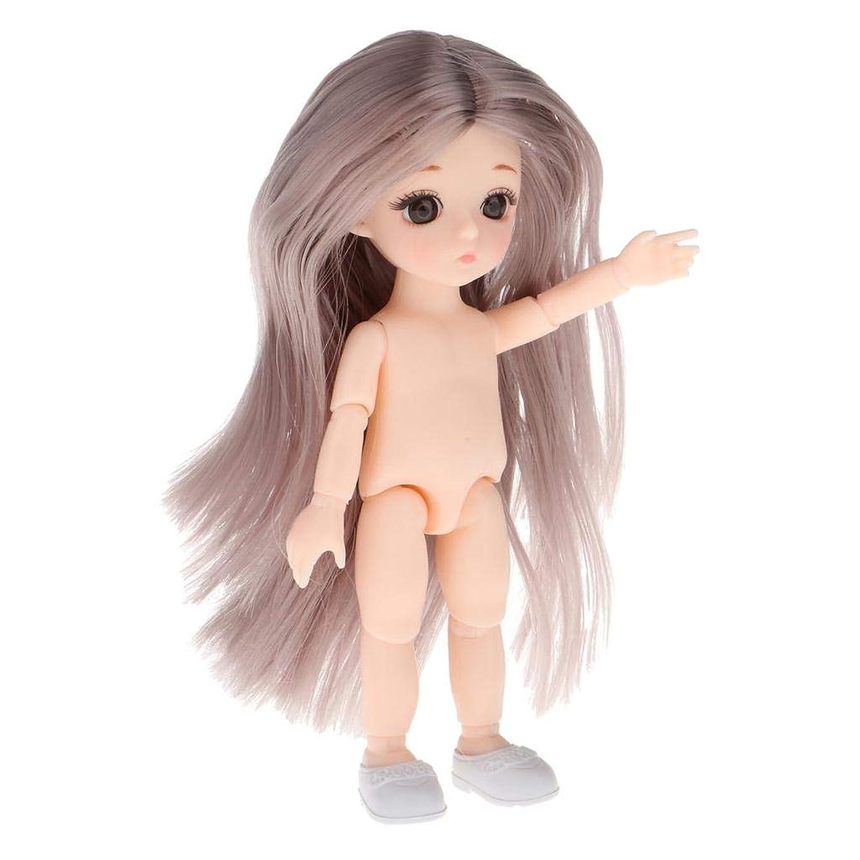 ラオス人避けるエンコミウム#N/A 16cm ボールジョイントドール ガールドール ヌードボディ 人形本体 きせかえ人形 女の子 全13色 - 灰色のストレートの髪