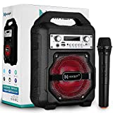 HIKEP Portable Bluetooth Karaoke Machine, Wireless PA Speaker System Voice Recording Amplifier with Wireless Microphone Karaoke for Party karaoke Christmas Gift