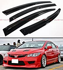 Fitment: 2006-11 8TH GEN HONDA CIVIC SEDAN 3D MUGEN WAVY STYLE WINDOW VISOR Already Comes With Pre-Applied 3M Automotive-Grade Tapes. Super Easy Installation, Just Clean, Peel and Stick Allows You To Roll Down The Window During Rain/Snow Weather To G...
