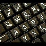 Qwerty Keys Deutsch Große Beschriftung (Großbuchstaben) Schwarz Tastaturaufkleber mit Weißer Buchstaben - passend für Jede Tastatur