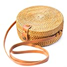 NATURAL NEO Round Rattan Bag Wicker Straw Shoulder Leather Straps Natural Woven Bags