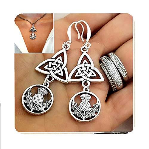 Irish Celtic Knot Scottish Thistle Flower Earrings, Irish Love Knot Gift, Irish Scottish mothers Day Gift