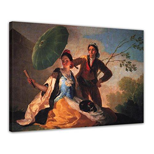 Bilderdepot24 Bild auf Leinwand | Francisco de Goya - Der Sonnenschirm in 40x30 cm als Wandbild | Wand-deko Dekoration Wohnung alte Meister | NEUB-180205-40x30-ds
