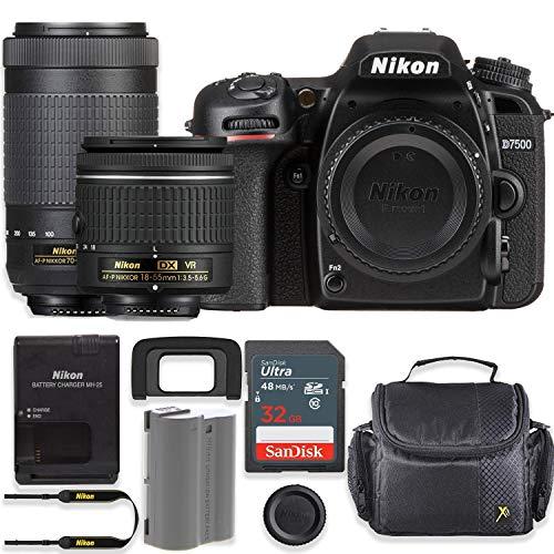 Nikon D7500 20.9MP DSLR Camera with AF-P 18-55mm VR Lens & 70-300mm ED Lens Kit + 32 GB Sandisk Memory Card & Deluxe Gadget Case