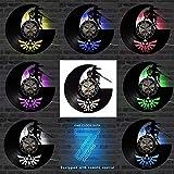 qweqweq Reloj de Pared con Disco de Vinilo Antiguo con 7 Cambios de Color LED Zelda Game Theme Legend Reloj de Pared con CD clásico Reloj de Pared Decoración del hogar
