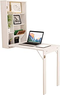 Wooden-Life Fold Out Convertible Desk Wall Mounted Drop Leaf Table Multi-Function Home Dining Computer Writing Office Desk with Large Storage Area, White
