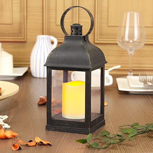 WRalwaysLX - Farolillos decorativos con velas, sin llama y con temporizador para interiores y exteriores con batería de 3 AAA, plástico con tonos de bronce, bronce, marrón, cuadrado