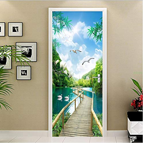 ZPCR Custom Photo Wallpaper 3D Nature Landscape Wood Bridge Murals Living Room Bedroom Door Sticker Creative DIY PVC Wall Papers Roll