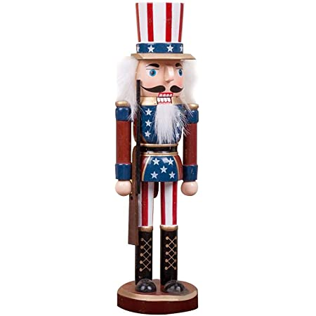 flag type 25CM Traditional Wooden Nutcracker Soldier Figure Classic American Soldier Decor for Outdoor Holiday Xmas Gifts Canghai Christmas Nutcracker