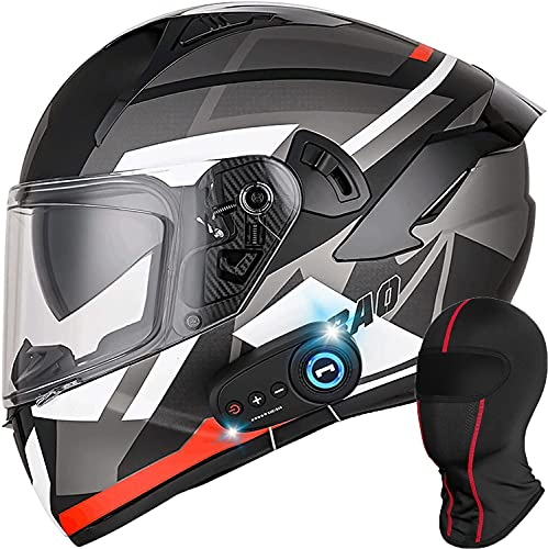 Casco de Moto Modular Bluetooth Integrado con Doble Anti Niebla Visera Cascos de Motocicleta ECE Homologado a Prueba de Viento para Adultos Hombres Mujeres C,XXL=(63-64CM)
