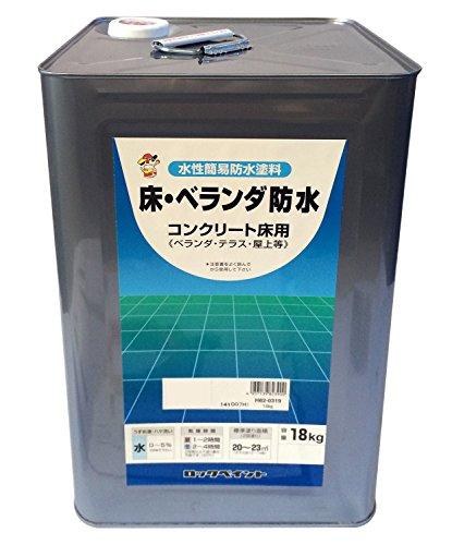 ロックペイント 水性床用ツヤ消し塗料 床・ベランダ防水(ツヤなし) 18Kg H82-0319-01 グレー