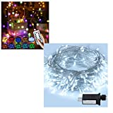 RJVW 65.6FT 200LED Christmas Lights White Indoor and 33FT 100LED Crystal Globe String Lights for Bedroom,Christmas Tree Party,Outdoor,Wedding,Christmas,Valentines Day Decoration