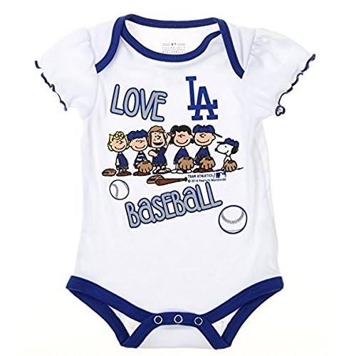 Outerstuff Los Angeles Dodgers Baby Girls Infants Peanuts Love Baseball  Creeper 40d64b12912