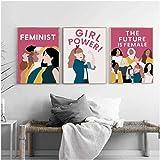 WANGHH Girl Power Poster nórdico Cuadro sobre Lienzo para Pared e impresión Imagen de Pared Feminista para decoración del hogar - 50x70cmx3 sin Marco
