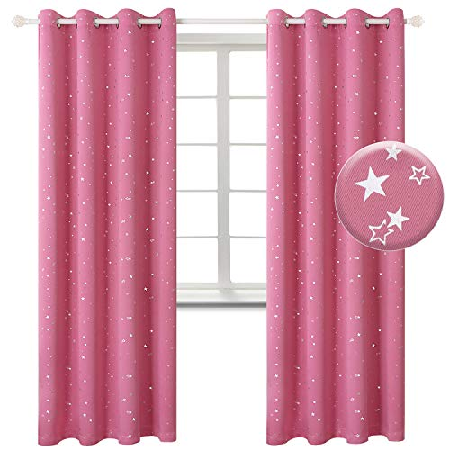 BGment Kids Blackout Curtains for Bedroom - Grommet Thermal Insulated Silver Star Print Room Darkening Curtains for Living Room, Set of 2 Panels (52 x 84 Inch, Pink)