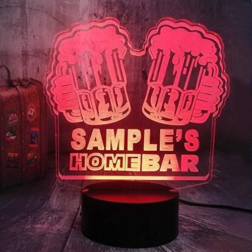 Illusion-Nachtlicht 3D Bier In Der Bar LED-Tisch-Schreibtischlampe 7Farben USB-Lade, Die Schlafzimmer-Dekoration für Kinder Weihnachten Halloween-Geburtstagsgeschenk Beleuchten
