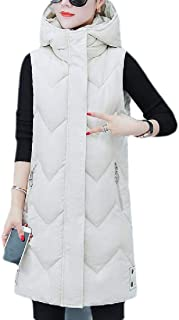 Macondoo Women Puffer Parkas Coat Hoodie Winter Vest Mid-Long Down Jacket