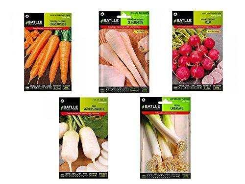 Semillas huerto lote 5 sobres (Zanahoria, Chirivia, Rabanito, Nabo y Puerro)