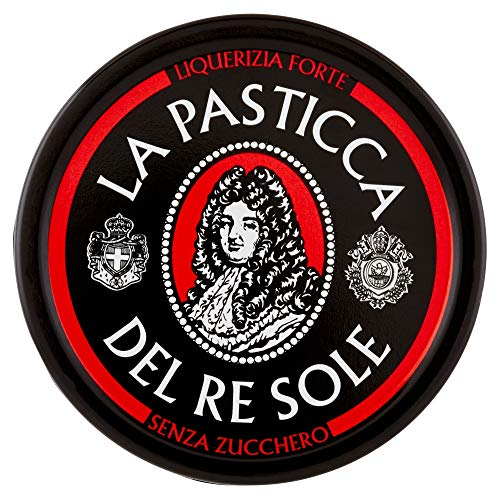 La Pasticca del Re Sole - Espositore per Lattine, Liquirizia Forte, Caramelle Morbide e Gommose, Senza Zucchero - Pacco da 12 Pezzi da 30 gr