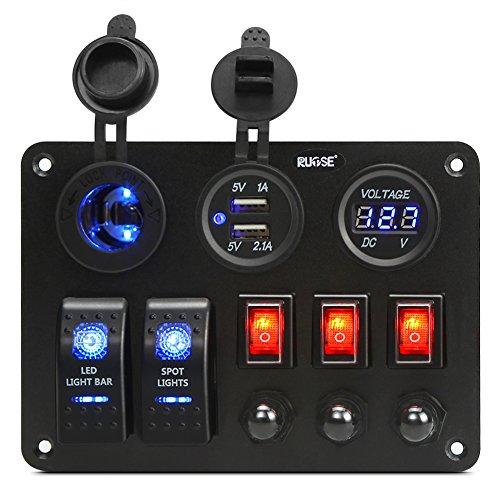 Preisvergleich Produktbild Rupse 2 Gang Switch Panel von Digitalen Voltmeter + 12V Steckdose + Dual USB Ladegerät Adapter (Einzelsteuerung)