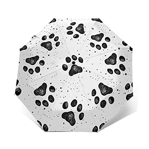 XYBB Ombrello Automatico Pieghevole Resistente al Vento Donna Auto Schizzi Auto di Dog Paw Stampe Antifinque Venti da Pioggia per Uomo Parasole (Color : Outer Print)