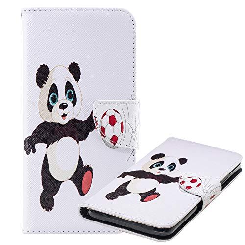 Laybomo Hülle für Huawei P30 lite Ledertasche Schuzhülle Weiches TPU Silikon Cover mit Visitenkartenhüllen Magnetisch Stehen Brieftasche Handyhülle für Huawei P30 lite, Panda Fußball Gedrückt