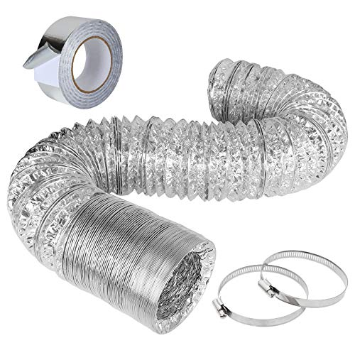 4 Inch 12 Feet Aluminum Foil Dryer Vent Hose Non-Insulated Flexible Air Duct Hose for HVAC Ventilation with 2 Inch x 65 FT Foil Tape and 2 Stainless Steel Clamps