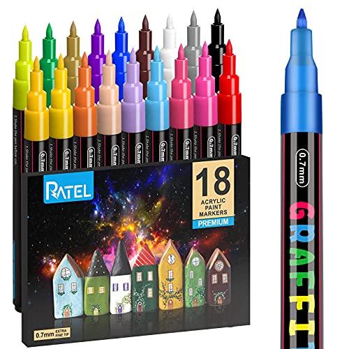 Steine Bemalen Acrylstifte für Steine, RATEL 18 Farben Acrylstifte Marker Stifte Wasserfester Stift Acrylstifte für Leinwand - Acrylic Painter Marker für DIY Fotoalben, Stein, Leinwand, Papier - 0.7mm