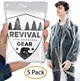 Revival Gear Disposable Rain Ponchos (5 Pack) - Best Clear Rain Poncho for Family (Women, Men & Kids) - Camping Raincoat & Jacket with Drawstring Hood Emergency Lightweight Packable Rain Coat