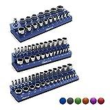 Olsa Tools Magnetic Socket Organizer | 3 Piece Socket Holder Kit | 1/2-inch, 3/8-inch, 1/4-inch Drive | Metric Blue | Holds 75 Sockets | Professional-Grade