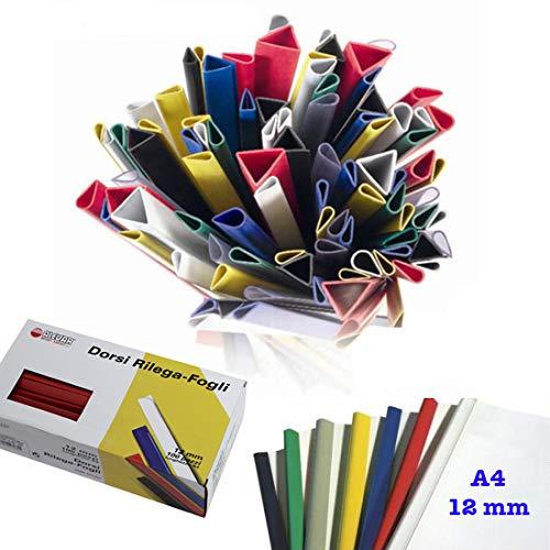 Dorsini Rilegafogli, A4 Diametro 12 mm, capacità 75 fogli, Confezione da 100 pezzi, Colore Nero