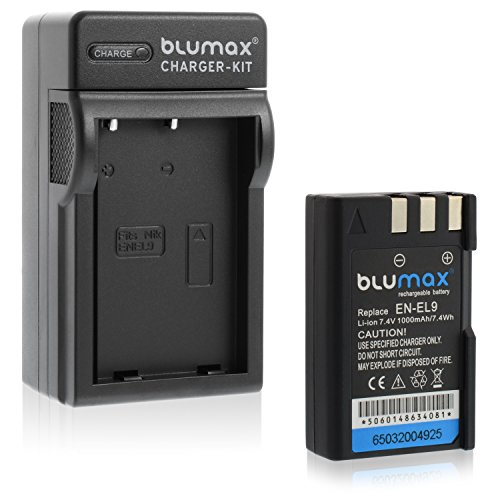 Blumax Akku für Nikon EN-EL9 / EN-EL9e / EN-EL9a 1000mAh + Ladegerät für EN-EL9 / EN-EL9e / EN-ELa | passend zu Nikon D40-D40X-D60-D3000-D5000