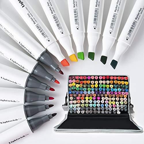 LIGHTWISH Marker stifte 168 Farben, Dual-Tip Alkoholmarkers Graffiti Stift mit Einer Tragetasche für Zeichnung, Manga, Skizzieren, Cartoon, Illustrationen, Design