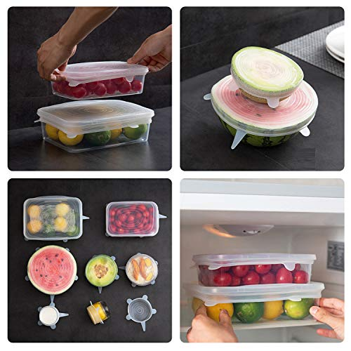 Silicone Stretch Lids by Bon Venu, 6-Pack Various Sizes Cover for Bowl