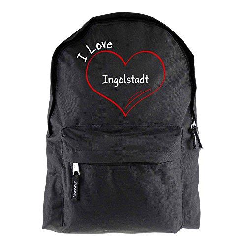 Rucksack Modern I Love Ingolstadt schwarz - Lustig Witzig Sprüche Party Tasche