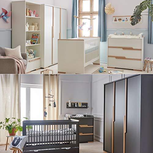 Babyzimmer Kinderzimmer komplett SPRING Set B Schrank Kommode Bett Regal weiß grau (Grau)